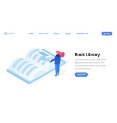 Virtual library landing page isometric template vector