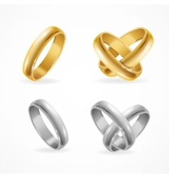 Wedding Gold and Silver Ring Set vector image