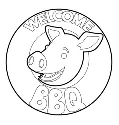 Welcome invitation to barbecue icon outline vector