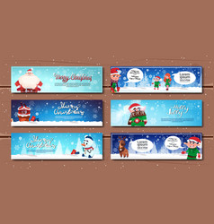 winter holidays horizontal banners with cartoon vector image