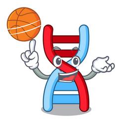 With basketball dna molecule character cartoon vector