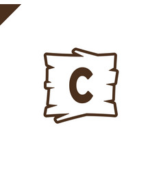 Wooden alphabet or font blocks with letter c vector