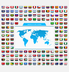 world and flag icons vector image