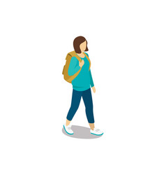 young girl with travel backpack vector image