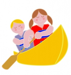 Youth in a canoe vector