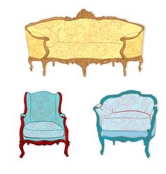 antique rococo sofa vector image