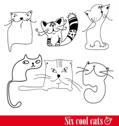 band of six funky cats vector image vector image
