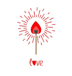 Burning love match with red and orange fire light vector image