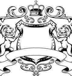 Heraldic Lion Shield Crest Silhouette vector image vector image