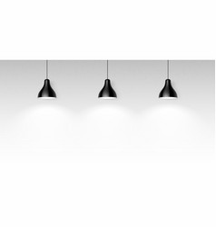 three black hanging ceiling lamps vector image vector image