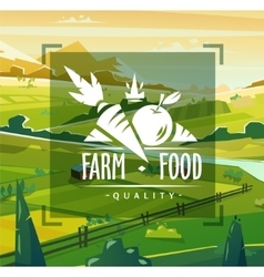 Farm food typography design on background vector image vector image