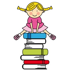 Girl jumping some books vector image vector image