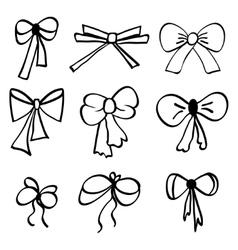 Set of hand-drawn bows vector image vector image
