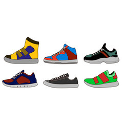 sneaker shoe color flat icon pictogram symbol vector image