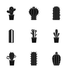 types of cactus icon set simple style vector image