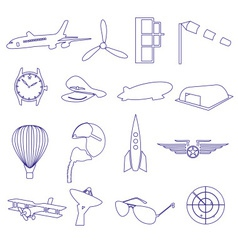 blue aeronautical and aviation outline icons set vector image