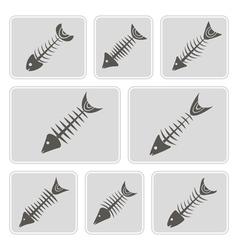 monochrome icons with fish skeletons vector image vector image