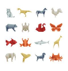 origami paper animals asian creative art vector image