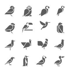 Set of bird icons on white background vector image vector image