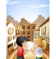 A boy and a girl with an empty book talking near vector image