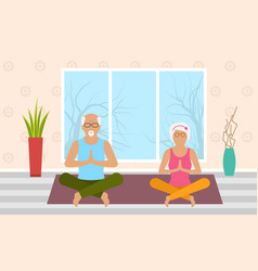 adult woman and man meditating in pose lotus home vector image vector image