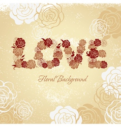 Floral background with roses and love letters vector image vector image