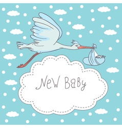 new baby stork flying with baby vector image vector image