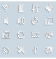 Paper mobile app icons vector