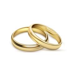 Wediding rings bridal set realistic image vector