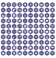 100 interaction icons hexagon purple vector