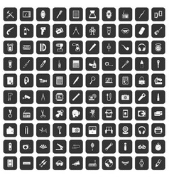 100 portable icons set black vector