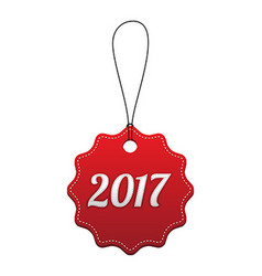 2017 New Year holiday red stitched tag vector image