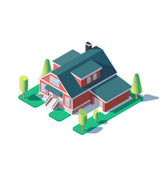 3d isometric large residential building with green vector image