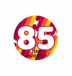 85 year anniversary purple template design vector