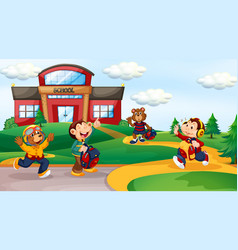 Animal student at school background vector
