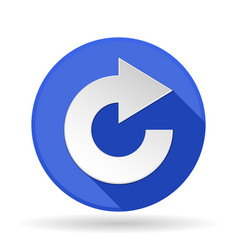 arrow icon blue round sign with shadow rotation vector image