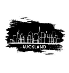 auckland new zealand city skyline silhouette hand vector image