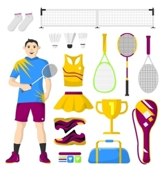Badminton icons set sport equipment and uniform vector