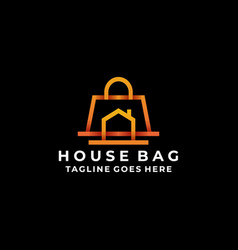 bag colorful line art with home design concept vector image