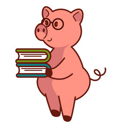 Big pink pig in glasses holds pile books vector