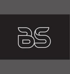 Black and white alphabet letter bs b s logo vector