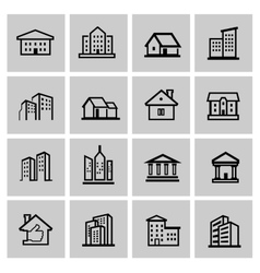 Black real estate set vector