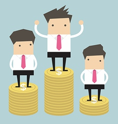 Businessman winner standing on gold coin vector
