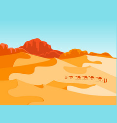 Cartoon desert with silhouettes camels and people vector