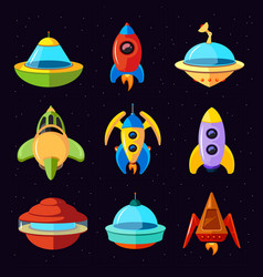 cartoon fantastic ufo spaceships and vector image