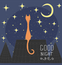 cats on the roof of the night city hand drawn vector image