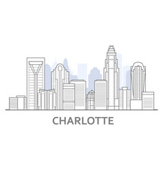charlotte skyline north carolina - panorama of vector image