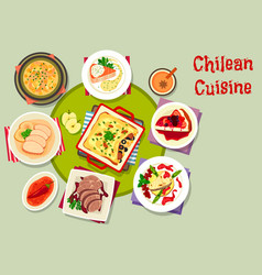 Chilean cuisine icon with seafood and meat dishes vector