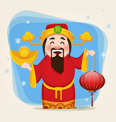 chinese god of wealth holding traditional lantern vector image