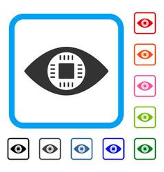 Chip eye lens framed icon vector